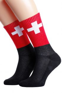 Хлопковые носки для женщин и мужчин с швейцарским флагом SWITZERLAND | Sokisahtel