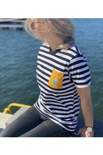 Полосатая футболка с нагрудным кармашком желтого цвета THE TALL SHIPS RACES 2021 | Sokisahtel