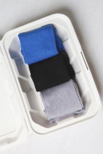 TAUNO men's socks in a gift box (3-pack), colours: blue, black, grey | Sokisahtel