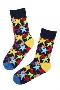 Женские хлопковые носки темно-синего цвета с узором в виде ярких звезд TO STARS | Sokisahtel