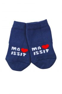 TRUE LOVE dark blue cotton socks for babies   Sokisahtel