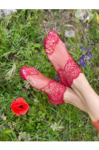 Женские кружевные носки красного цвета TERESA | Sokisahtel