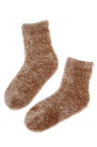 Женские мягкие и пушистые домашние носки золотистого цвета LOORES | Sokisahtel