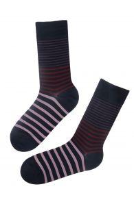 Мужские стильные хлопковые носки черного цвета с полосками WILLIAM | Sokisahtel