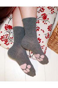 Женские теплые и милые носки серого цвета из шерсти ангоры с удобной резинкой и узором NORMA (отпечаток лапки)   Sokisahtel