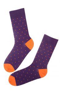 Мужские хлопковые носки фиолетового цвета с узором в крапинку GORDON | Sokisahtel
