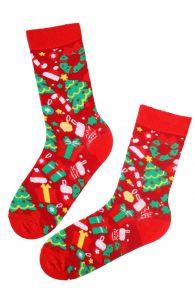 Хлопковые носки красного цвета в рождественской тематике для мужчин и женщин GIFT | Sokisahtel