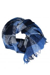 Большой плед сине-серого цвета с клетчатым узором из шерсти альпака | Sokisahtel