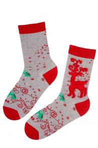 Женские рождественские носки серого цвета с узором в виде оленя REINDEER | Sokisahtel