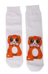 Женские хлопковые носки белого цвета с изображением милого рыжего котика KITTY   Sokisahtel
