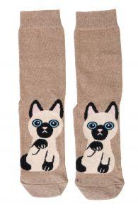 Женские хлопковые носки бежевого цвета с изображением милого котика KITTY   Sokisahtel