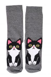 Женские хлопковые носки серого цвета с изображением милого черно-белого котика KITTY   Sokisahtel