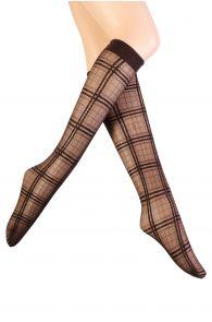 Женские тонкие гольфы коричневато-серого цвета с квадратным узором ASHLEY от Pierre Mantoux | Sokisahtel