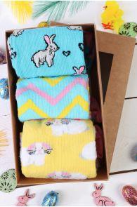 Подарочный пасхальный набор из 3 пар женских хлопковых носков с зайчиками BUNNYLOVE | Sokisahtel