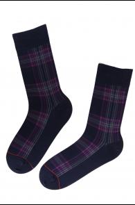 Мужские стильные хлопковые носки черного цвета с лиловыми полосками CARL | Sokisahtel