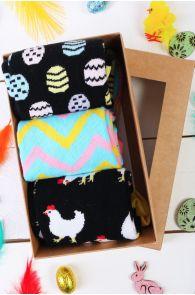 Подарочный пасхальный набор из 3 пар ярких женских носков из хлопка CHICKEN MOM | Sokisahtel
