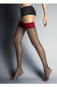 ALESSANDRA musta värvi sukad punase pitsäärega | Sokisahtel