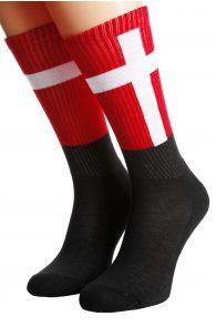 Хлопковые носки для женщин и мужчин с датским флагом DENMARK | Sokisahtel