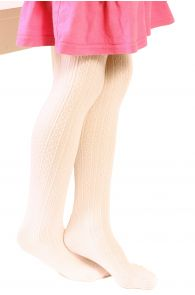 Детские колготки кремово-белого цвета с красивым узором в полоску EGLE | Sokisahtel