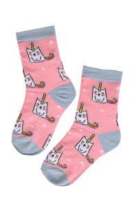 ELOISE pink socks with unicorns for girls | Sokisahtel