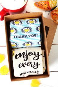 Подарочный набор из 2 пар милых носков из хлопка для женщин MOMENT   Sokisahtel