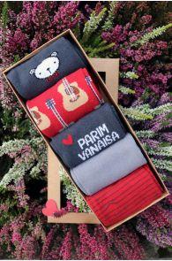 Подарочный набор из 5 пар хлопковых носков ко Дню Отца Parim Vanaisa (лучший дедушка) OLEV   Sokisahtel