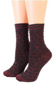 Женские фантазийные носки бордового цвета с леопардовым принтом FRANCIS от Pierre Mantoux | Sokisahtel