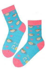 Хлопковые носки синего цвета с изображением чашек кофе и сердечек для мужчин и женщин GOOD MORNING (доброе утро) | Sokisahtel