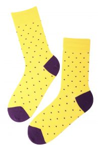 Мужские хлопковые носки желтого цвета с узором в крапинку GORDON | Sokisahtel