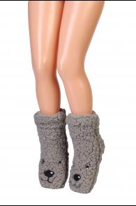 Детские домашние тапочки-носки серого цвета с нескользящей подошвой DOG   Sokisahtel