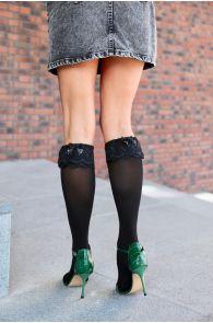 KATRINA black knee-highs with a bow for women | Sokisahtel