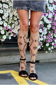 MONICA 20 DEN beige knee highs for women | Sokisahtel