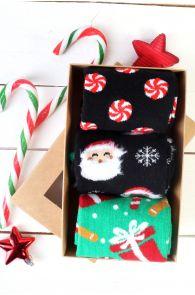 Рождественский подарочный набор из 3 пар веселых хлопковых носков для мужчин и женщин FREDERIK | Sokisahtel