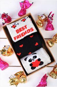 Подарочный набор из 3 пар милых хлопковых носков для женщин FRIENDSHIP | Sokisahtel