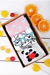 Подарочный набор из 3 пар различных хлопковых носков для женщин GIRAFFE | Sokisahtel