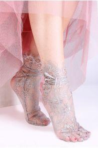 Женские элегантные кружевные носки серого цвета с атласной лентой JANELI | Sokisahtel