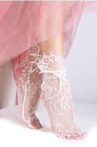 Женские элегантные кружевные носки белого цвета с атласной лентой JANELI | Sokisahtel