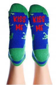 Укороченные хлопковые носки синего цвета с лягушками KISS ME | Sokisahtel