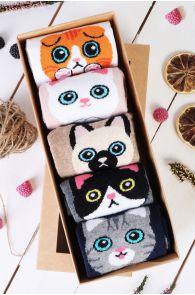 Подарочный набор из 5 пар милых хлопковых носков с котиками для женщин KITTY   Sokisahtel
