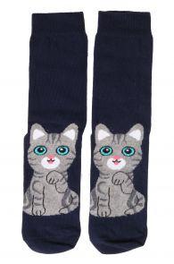 Женские хлопковые носки темно-синего цвета с изображением милого серого котика KITTY   Sokisahtel