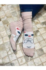 Женские хлопковые носки нежно-розового цвета с изображением милого белого котика KITTY   Sokisahtel
