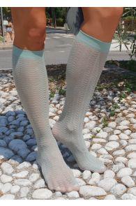 KIWI bluish green knee highs for women | Sokisahtel