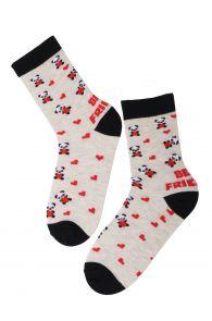 Хлопковые носки серого цвета с изображением панд и сердечек для детей FRIENDSHIP | Sokisahtel