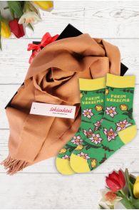 Подарочный комплект из носков LEIDA и бежевого шарфа из шерсти альпака для лучшей бабушки | Sokisahtel