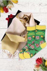 Подарочный комплект из носков LEIDA и желто-белого шарфа из шерсти альпака для лучшей бабушки | Sokisahtel