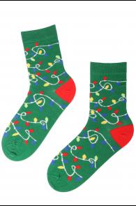 Хлопковые носки зеленого цвета с узором в виде гирлянды из лампочек для мужчин и женщин PARTY LIGHT | Sokisahtel