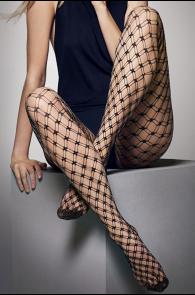 Женские блестящие колготки серебристо-черного цвета в двойную сетку LILLY | Sokisahtel