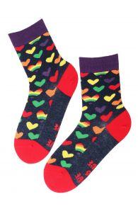 Хлопковые носки с ярким узором в виде разноцветных радужных сердечек для мужчин и женщин LOVE (любовь) | Sokisahtel