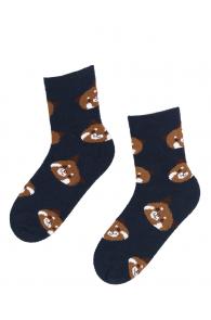 Женские теплые носки темно-синего цвета с изображением медвежьих мордочек MILA | Sokisahtel