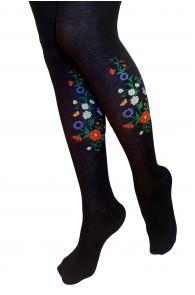 MIRJAM mustad rahvusliku lillemustriga sukkpüksid naistele | Sokisahtel